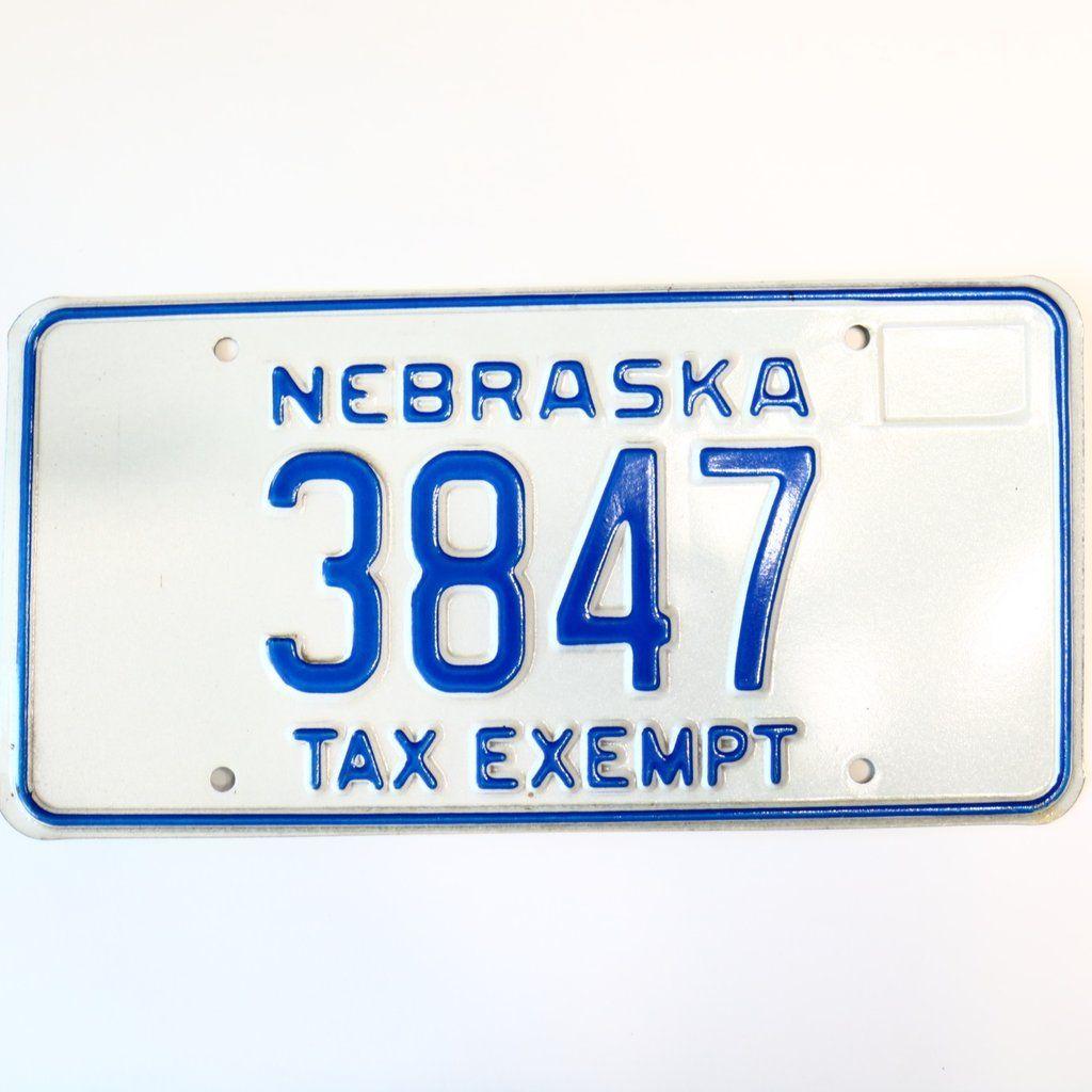 1985 Nebraska Tax Exempt License Plate 3847 Nebraska