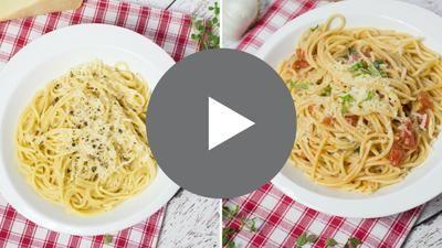 Dos formas de aderezar unos espaguetis que seguro que te van a encantar: cremosos con ajo y Parmesano y con tomates, ajo y albahaca