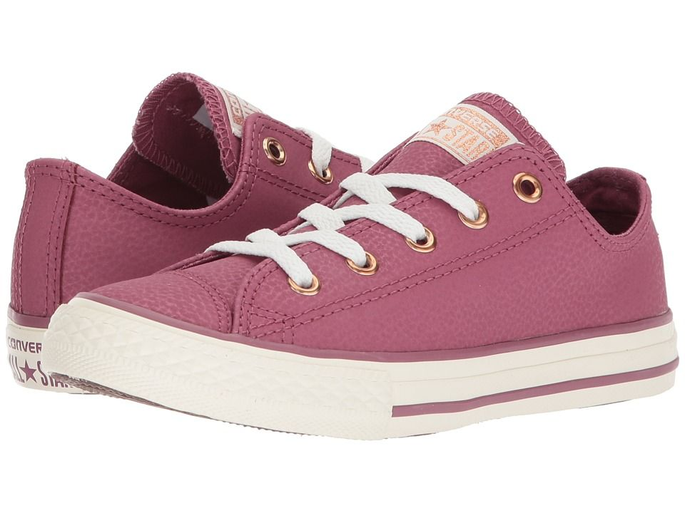 f30a37875fbd Converse Kids Chuck Taylor All Star Fashion Leather Ox (Little Kid Big Kid)  Girls Shoes Vintage Wine Egret Rose Gold