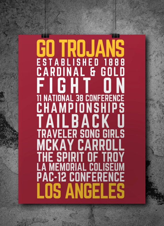 USC Trojans Poster Printable by CrosleyDesigns on Etsy