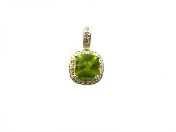 14KW HALO CUSH PERIDOT=2.23CT DIA=.14TW | Colored Gemstone Necklaces & Pendants from Georgetown Jewelers | Wood Dale, IL