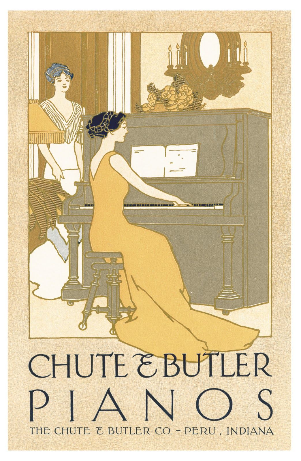 Vintage Advertising Art | VintageFeedsacks: Free Vintage Clip Art - Vintage Piano Ad