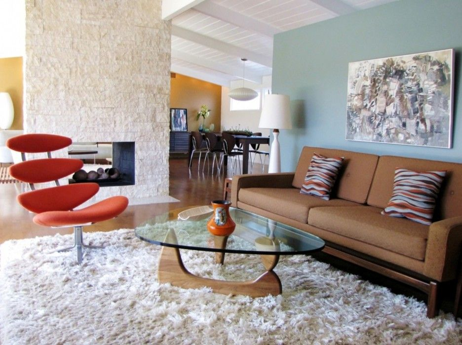 mid century living room ideas. Furniture Beautiful Mid Century Living Room With Brown Sofa Feat  Striped Cushion Also Triangle Glass Coffee Table And Orange Lounge Chair Above White Interior Wonderful Decor Home Modern