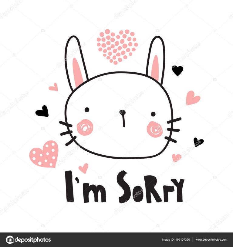 Vector Template Greeting Card Sorry Text Cute Bunny Inside Sorry Card Template Sorry Cards Im Sorry Cards Card Template