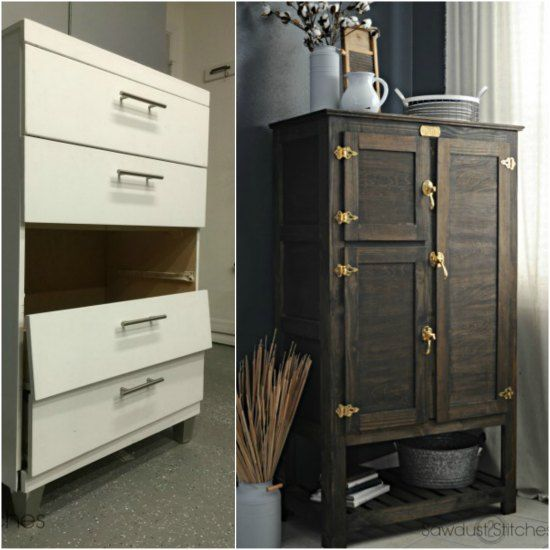 Turn A Broken Dresser Into An Old Fashioned Cabinet Broken Dresser Diy Storage Dresser Diy Dresser