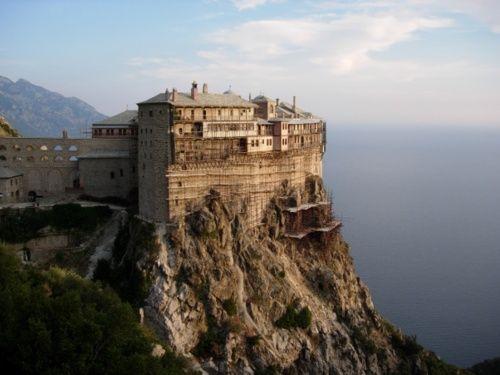 "Simonopetra Monastery (meaning ""Simon's Rock"") on Mount Athos, or in"