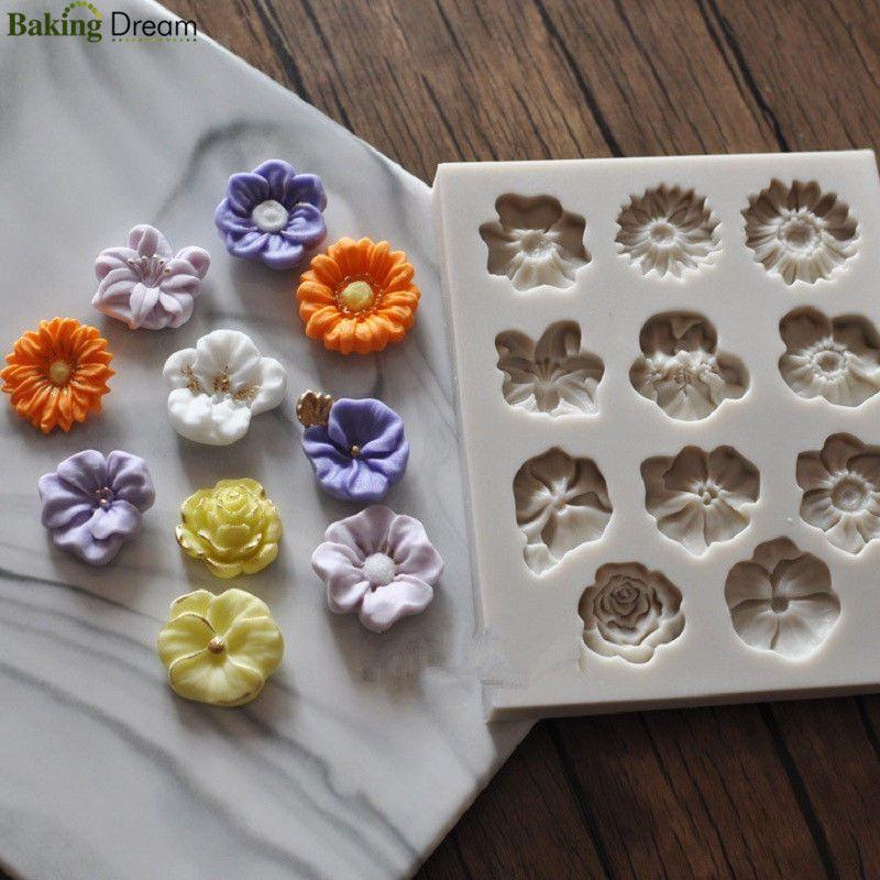 UK Flower Silicone Mould Sugarcraft Fondant Cake Topper Modelling Tools Mold