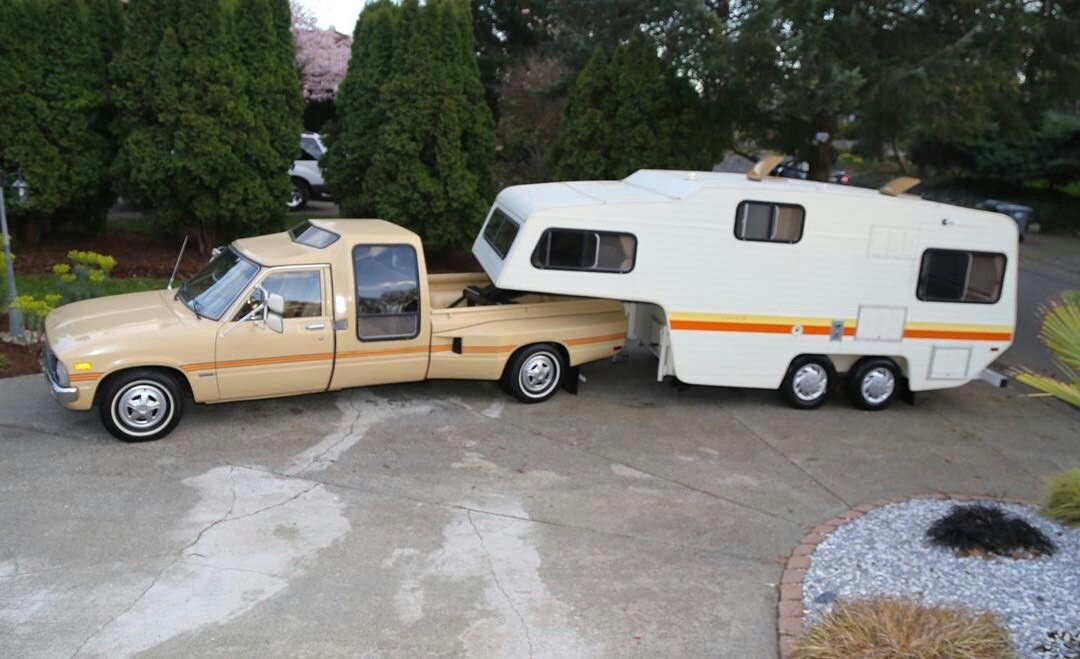 Find Of The Week: 1981 Toyota Dualie Pickup With Matching Fifth Wheel Camper