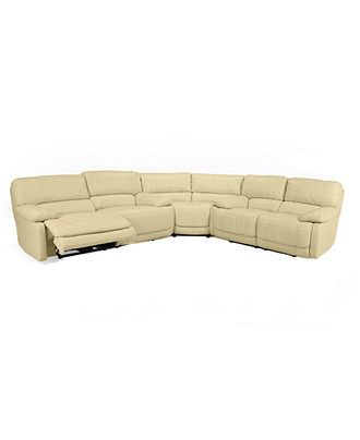 Nina Leather Reclining Sectional Sofa 3 Piece Power