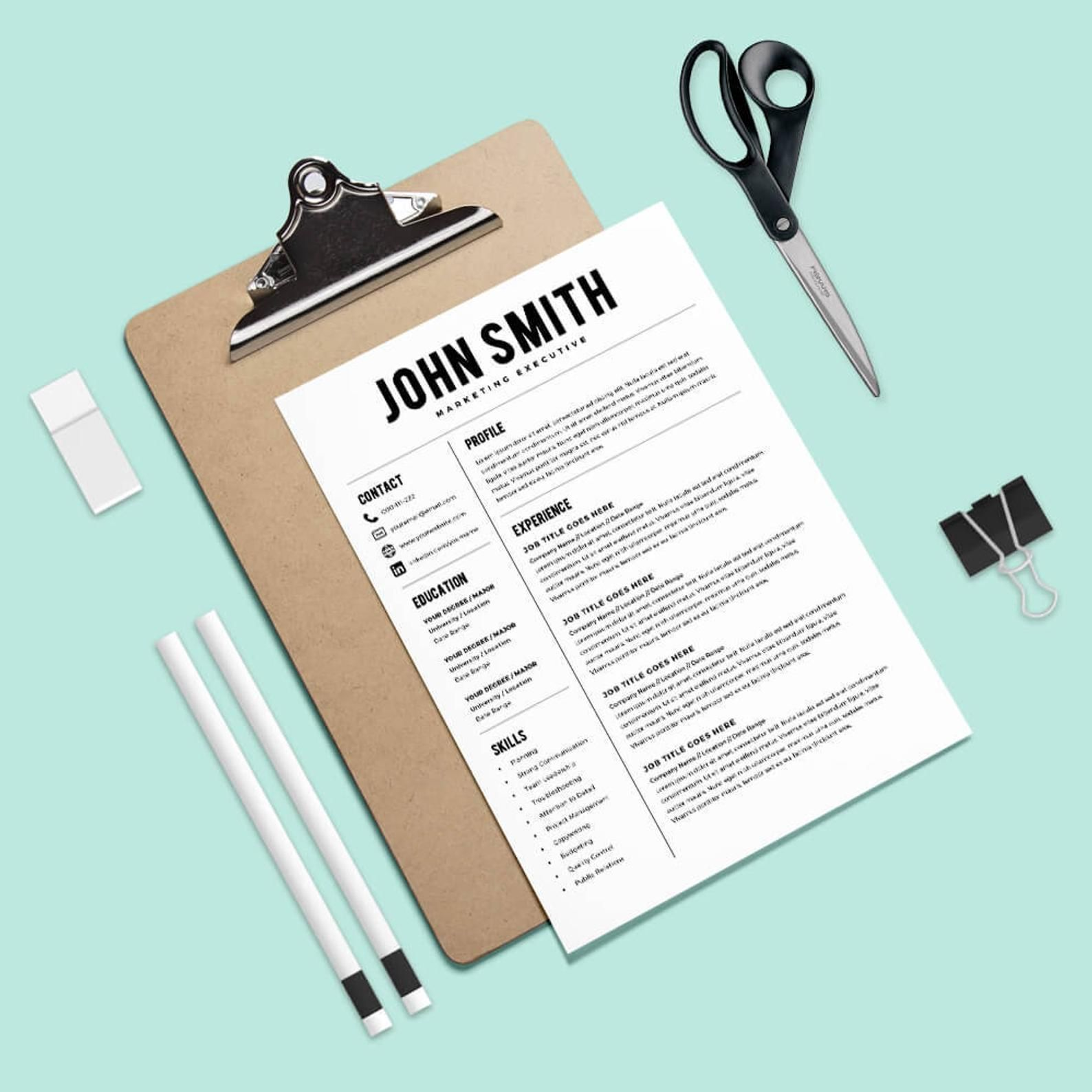 Resume Template Resume Builder CV Template + Cover