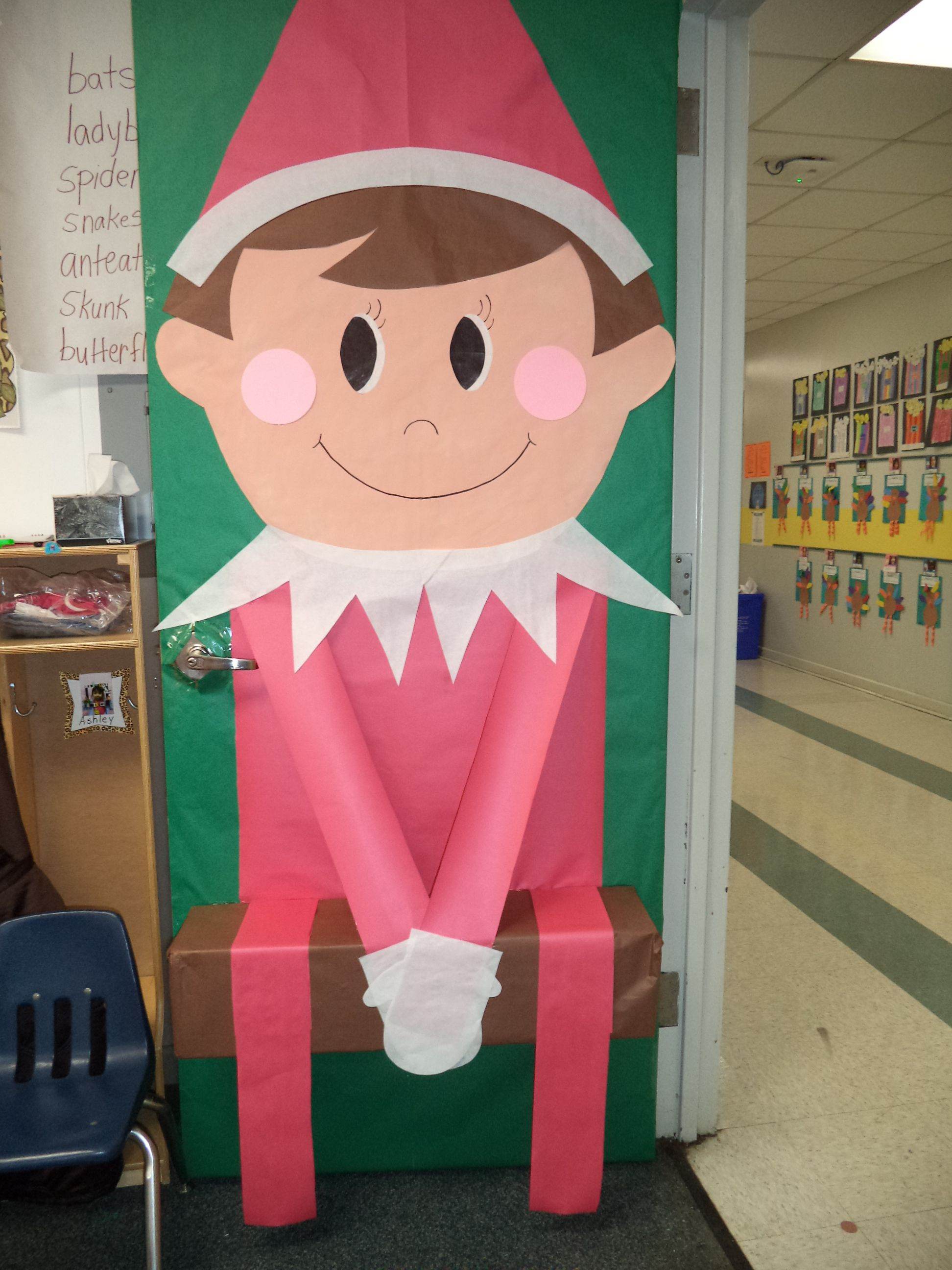 My elf on the shelf door i made this year 2013 saying for Elf door decoration