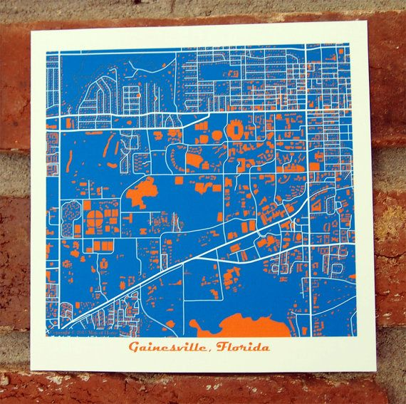 University Of Florida Map Art Print Gainesville By