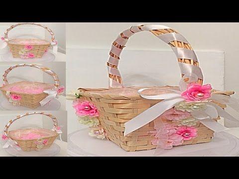 Como decorar una canasta para petalos de flores de boda - Como adornar una cesta de mimbre ...