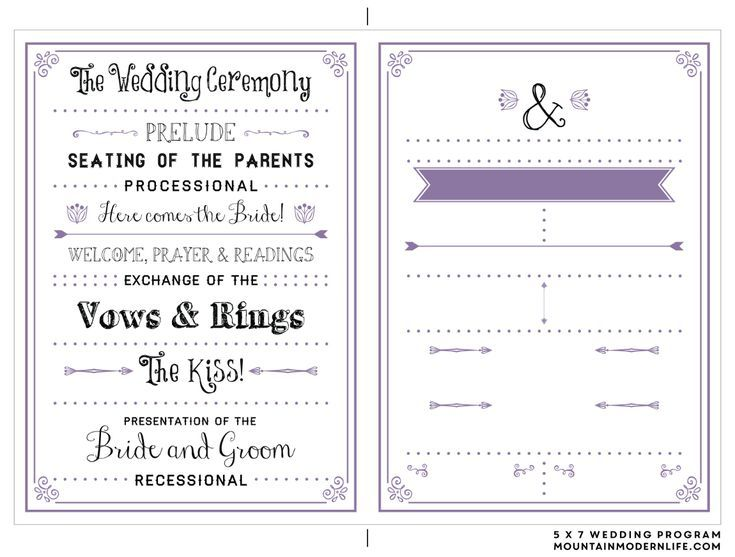 Create A Wedding Program With These Stylish Free Templates Template From Mountain Modern Life