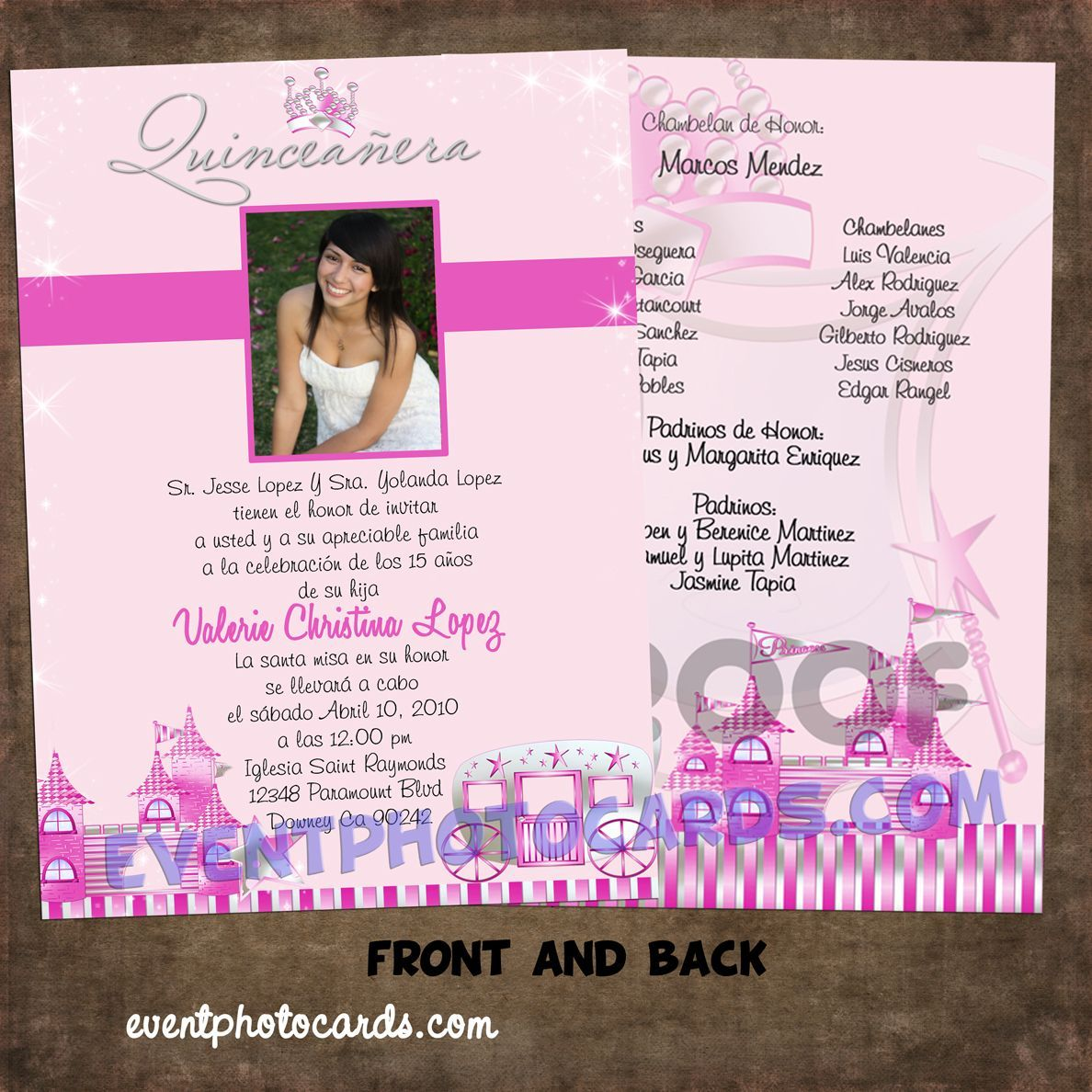 Princess beautiful quinceanera sweet 16 invitations Carriage http