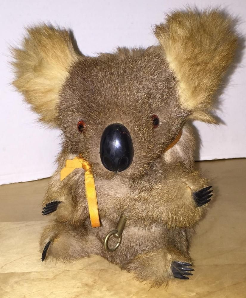 Vintage Wind Up Musical Koala Bear Music Box Stuffed ...