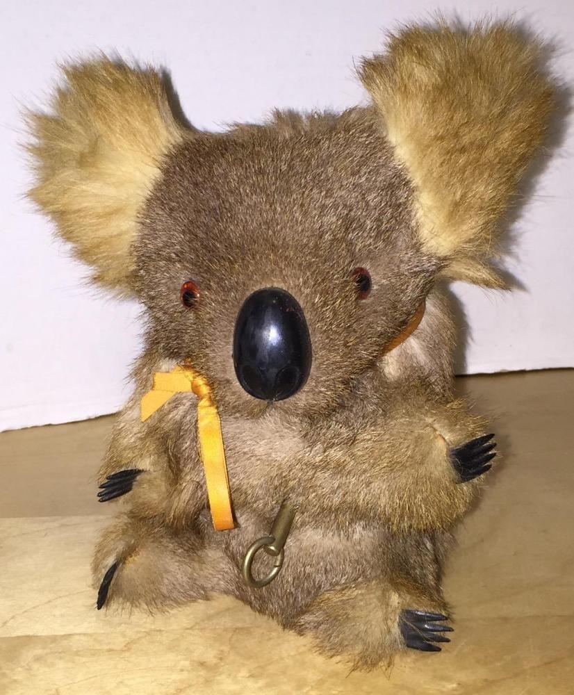 Vintage Wind Up Musical Koala Bear Music Box Stuffed Animal Toy Fur