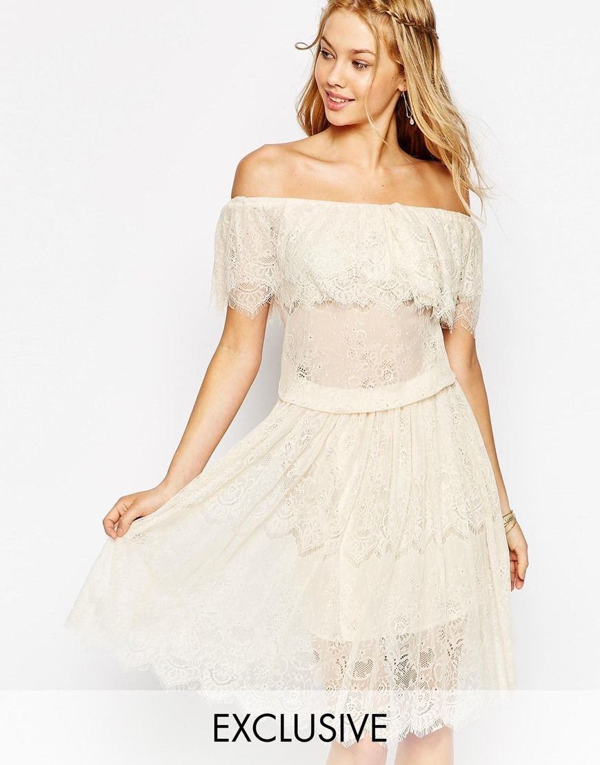 Darccy vintage boho lace off shoulder midi dress wedding outfits