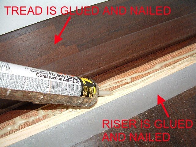 Step 9   Install Stair Nose : When I Install The Stair Nose I Apply  Construction Adhesive