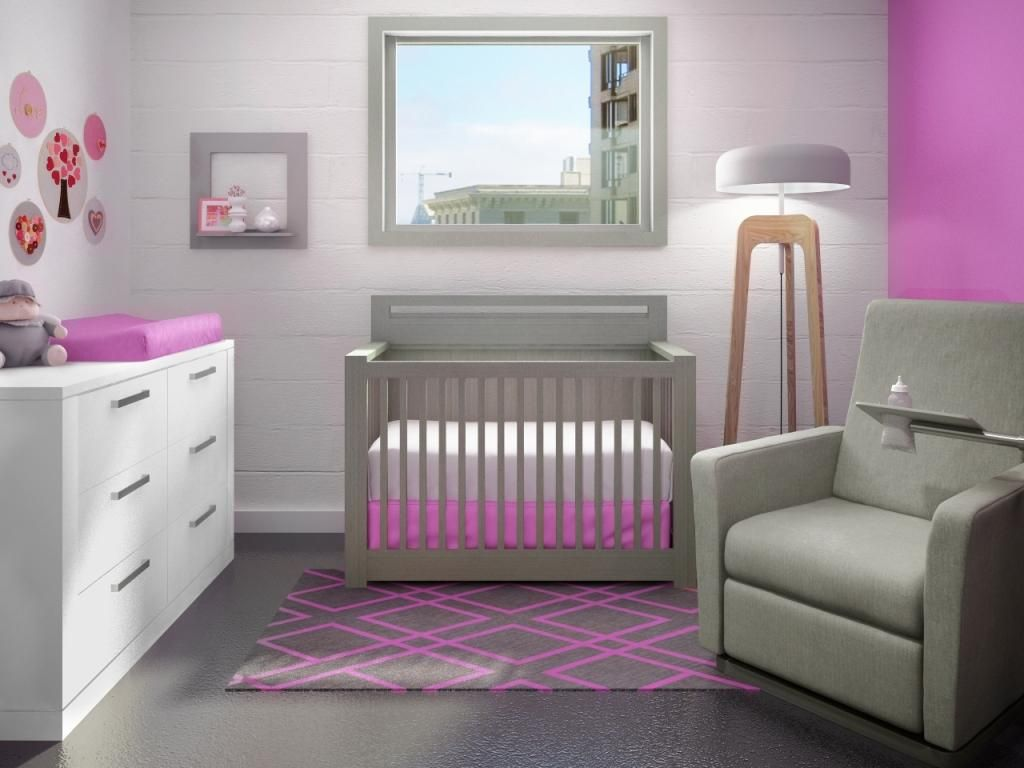 Natart crib for sale - Pretty In Pink The Nest Line Milano Convertible Crib To Double In Elephant Grey
