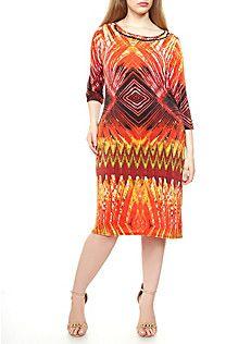 Plus Size Three Quarter Sleeve Tribal Print Midi Dress with Metal Trim,RED