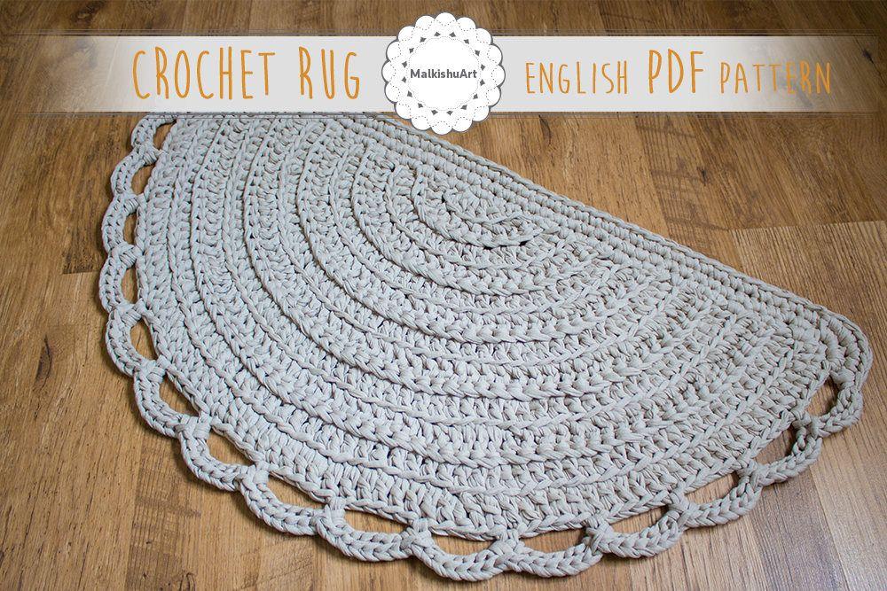 English Rug Pattern Crochet Half Moon Pdf Pattern Crochet Etsy Crochet Rug Patterns Crochet Rug Patterns Free Rug Pattern