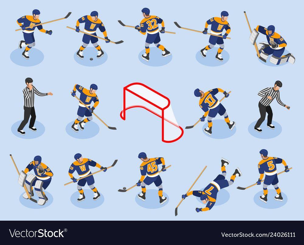 Ice Hokey Isometric Icons Royalty Free Vector Image Affiliate Isometric Icons Ice Hokey Ad Hockey Posters Ice Hockey Hockey Logos