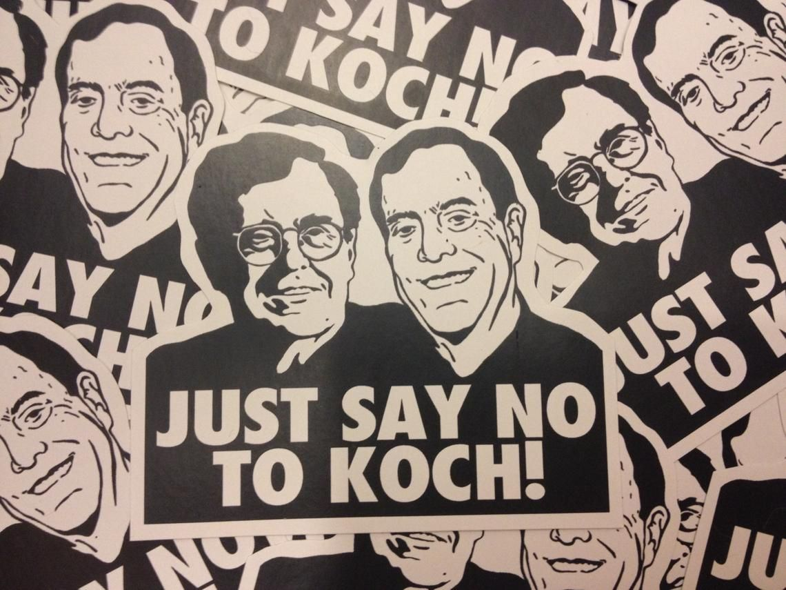 Just Say No To Koch Stickers Etsy Custom Cutout Word Art Vinyl Sticker [ 855 x 1140 Pixel ]