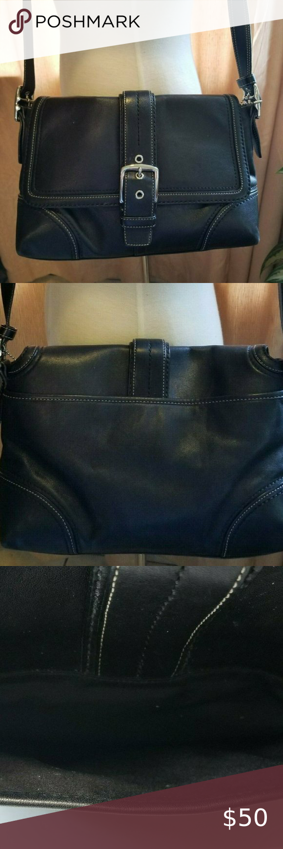 Coach Black Leather Flap Satchel Purse Shoulder Coach Black Leather Flap Satchel Purse Shoulder Bag - G0878-F12606. Purse is very clean in very good used condition. Please note that photos are a part of the description. Please contact me if you have any questions or if you need more photos. A couple little scuffs on the bottom and some wear on the bottom corners, See Photos   Thank you for shopping at my store Coach Bags Shoulder Bags