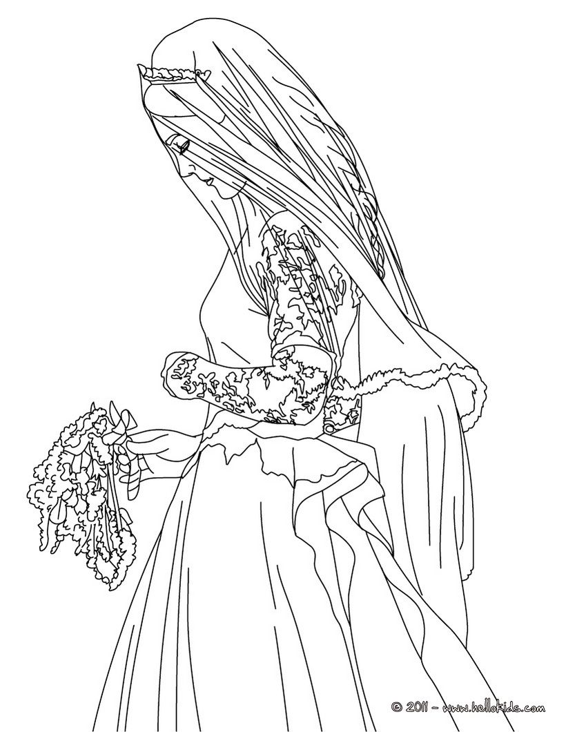 Disney princess wedding dresses coloring pages