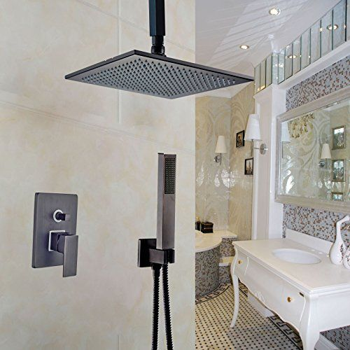 Rozin Ceiling Mount 12inch Rainfall Showerhead With Hand Spray