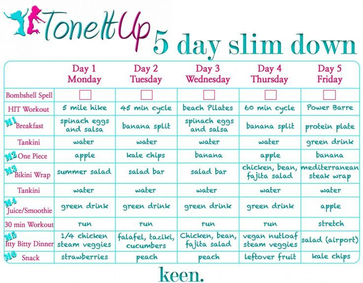 6 days slim down diet