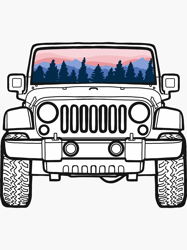 Sunset Pines Jeep Sticker By Abbyconnellyy Jeep Stickers Aesthetic Stickers Cute Stickers