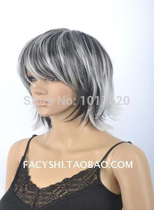 Fs 12inch Short Silver And Font B Black B Font Double Color Old Aged Font B Jpg 490 670 Black And Grey Hair Silver Hair Color Wig Hairstyles