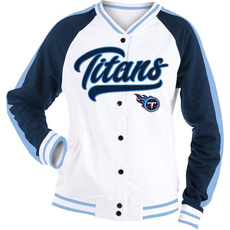 248e688c3eeb Tennessee Titans New Era Women s Varsity Full Snap Jacket - White Navy
