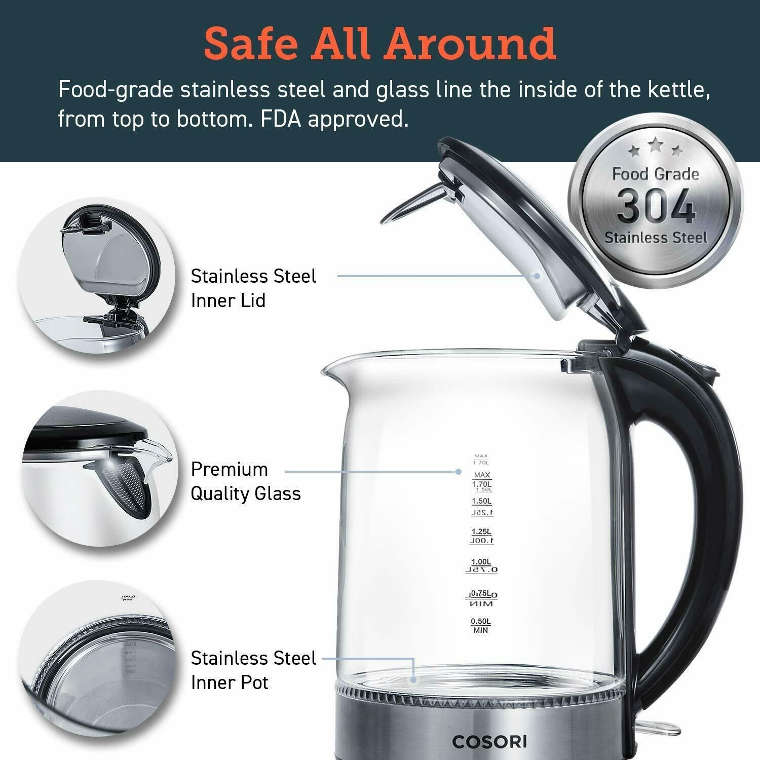 Cordless Glass Boiler Hot Water /& .. BPA-Free New COSORI 1.7L Electric Kettle
