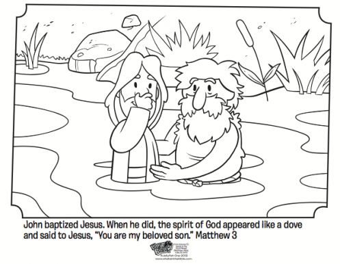 Kids Coloring Page From Whats In The Bible Featuring Jesus Being Baptized By John Baptist Matthew 3 Volume 10 Is Good News
