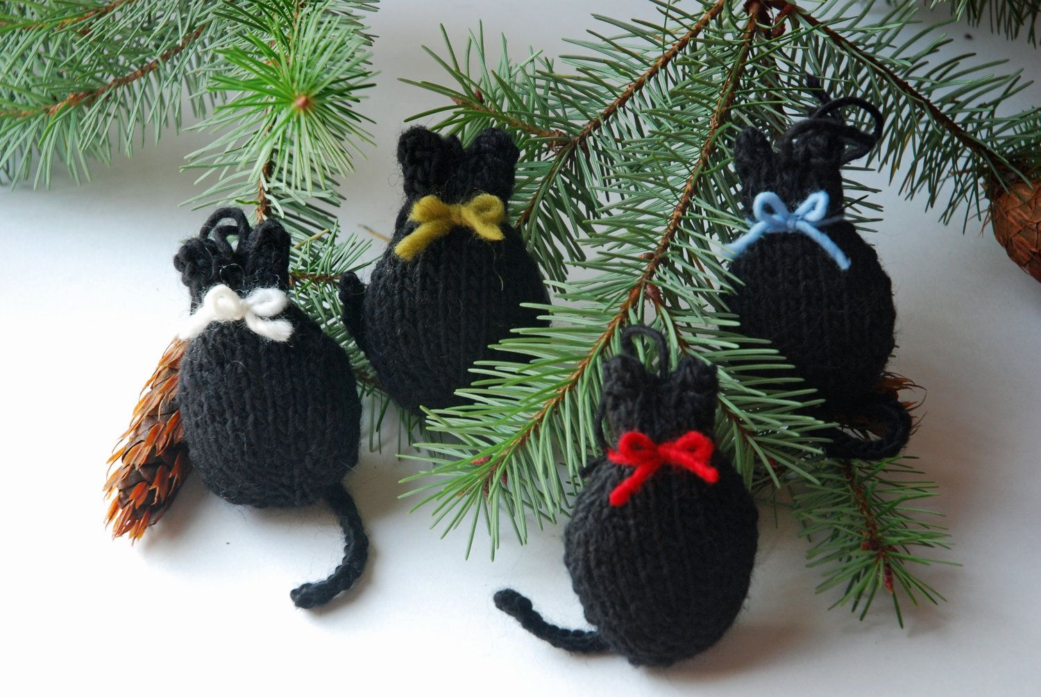 Knitted Black Cat Folk Art Christmas Tree Ornament. 7.50