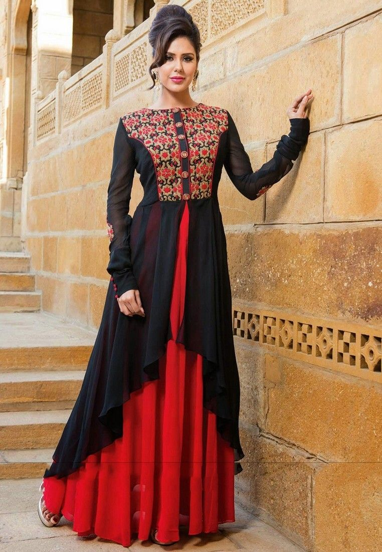 16291ac0a8a Buy Black And Maroon Color Georgette Gown Online at Bogglingshop.com ...
