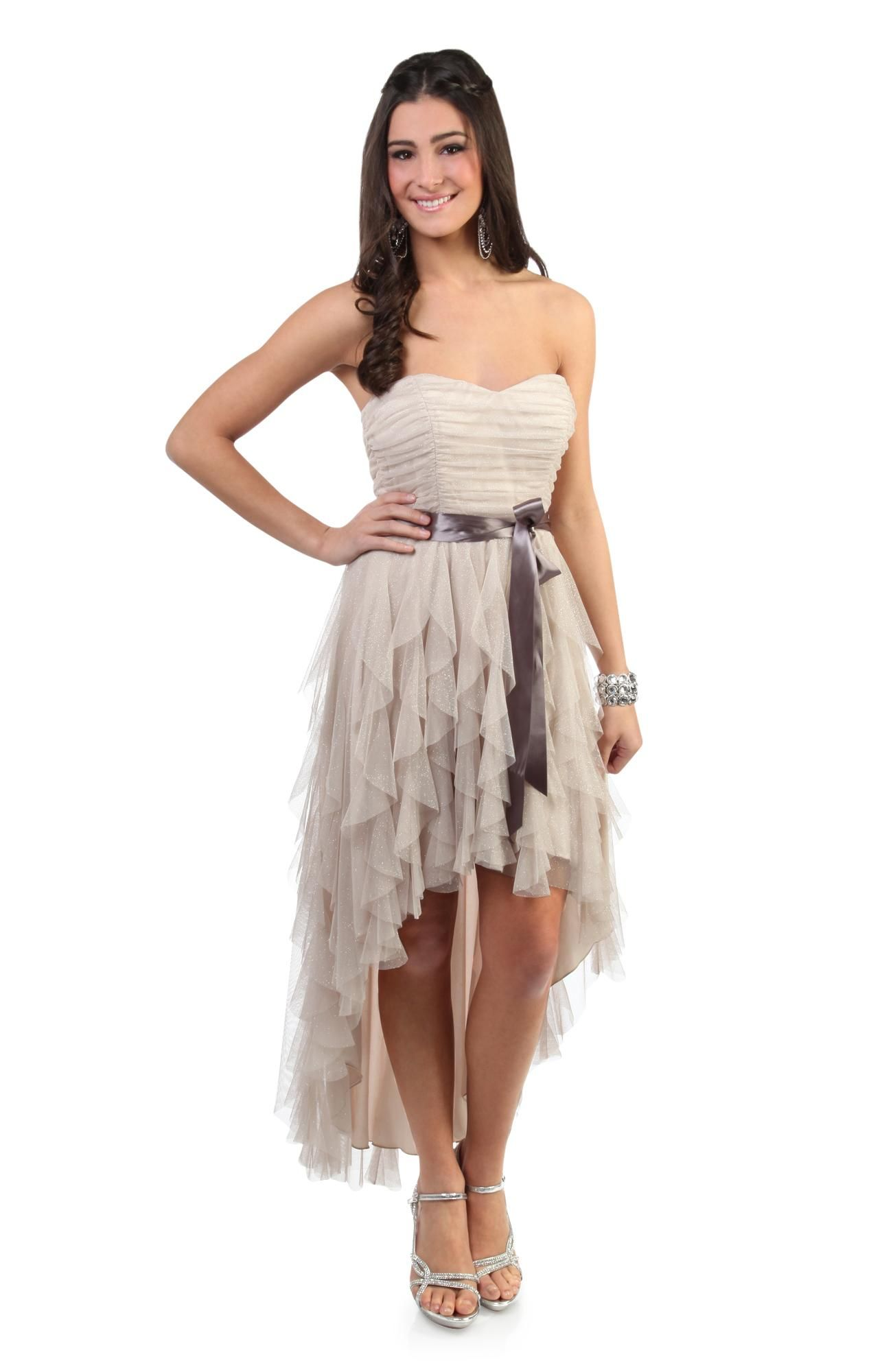 Glitter ruffle high low prom dress with side waist tie would look
