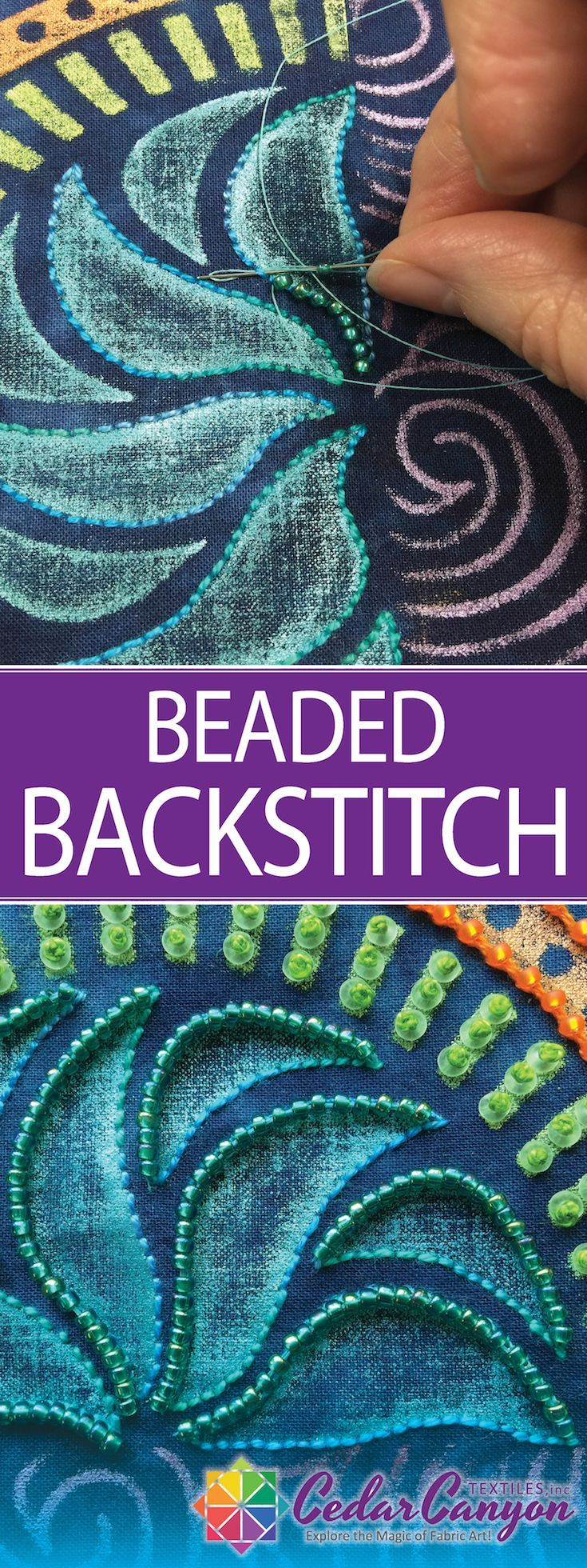 Add Texture And Sparkle With Beaded Backstitch - Cedar Canyon Textiles