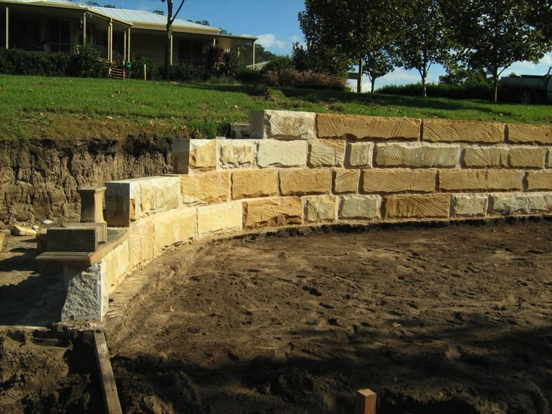 Sandstone Blocks are a great ways to build long lasting retaining walls, houses and property features. Why not give us a call for any of your sandstone needs 0408 755 375
