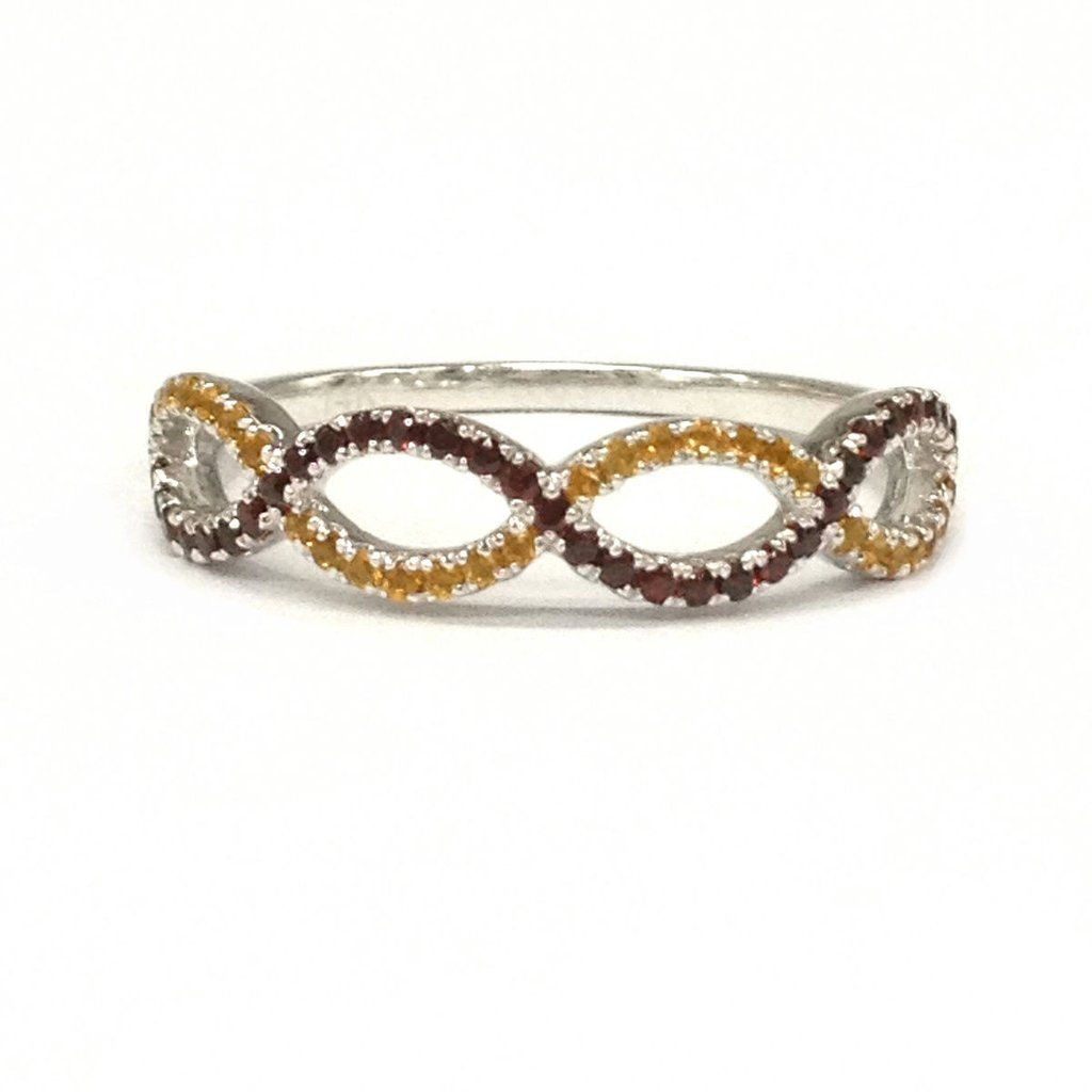 Awesome  Red Garnet u Yellow Citrine Wedding Band Half Eternity Anniversary Ring K White Gold Curved