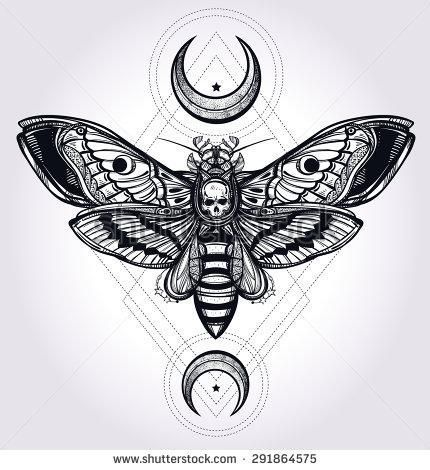 Deaths Head Hawk Moth With Moons And Stones Design Tattoo Art Black Geometric Tattoos Pesqu In 2020 Geometrisches Tattoo Tattoo Motive Vorlagen Motten Tattoo