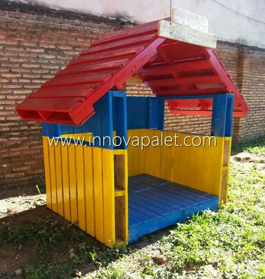 Casita de juegos casitas con pallet pinterest for Casitas de madera
