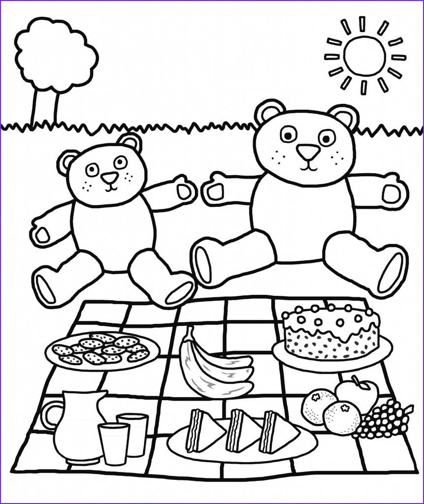 45 Awesome Stock Of Coloring For Toddlers Teddybeer Picknick Thema