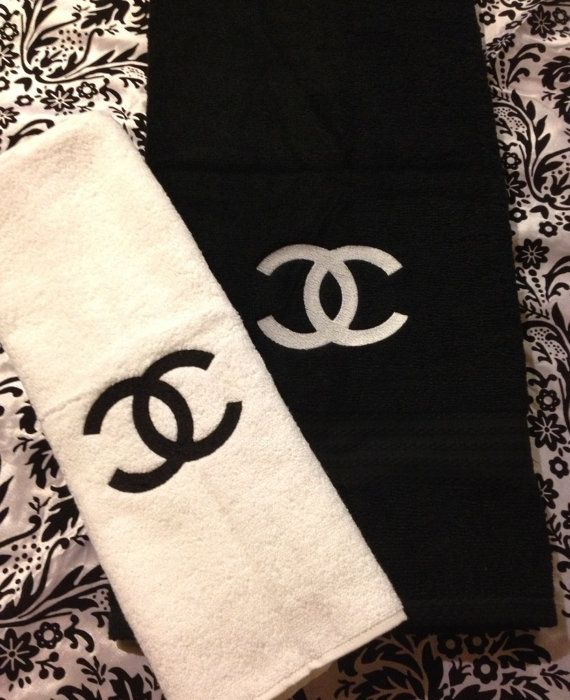 Chanel Towel: Chanel Inspired Embroidered Black And White Towel Set