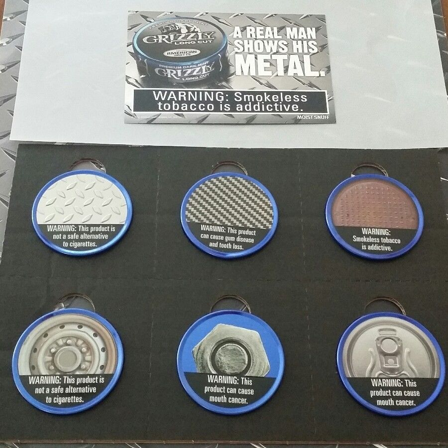 Grizzly Tobacco Can Lids Mint Collectible 6 Limited Edition Tin Lids
