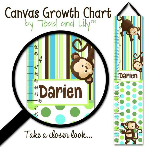 Canvas Growth Chart Aqua Pop Monkey Boys Girls Bedroom Kids Baby