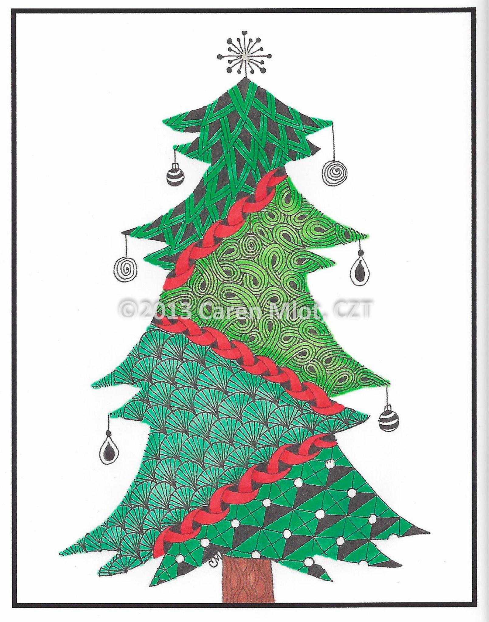 Zentangle Christmas card - Christmas tree (color) - Tangle Mania ...